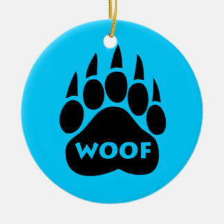 "Bear Paw Gay Pride ""WOOF"" Round Christmas Ornament"