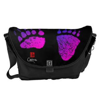 Bear Paws In Pink/Purple - Large Messenger Bag