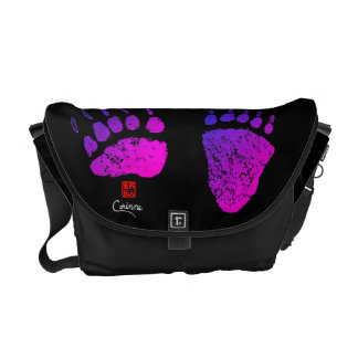 Bear Paws In Pink/Purple - Medium Messenger Bag