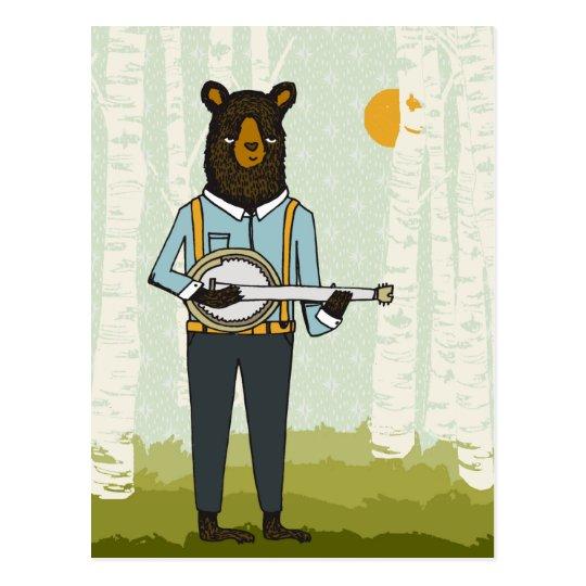 Bear Playing Banjo Postcard