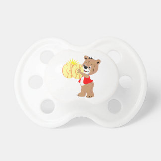 bear playing cymbals red shirt.png baby pacifiers