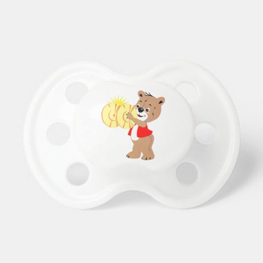 bear playing cymbals red shirt.png baby pacifier