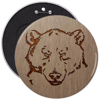 Bear portrait engraved on wood design 6 cm round badge