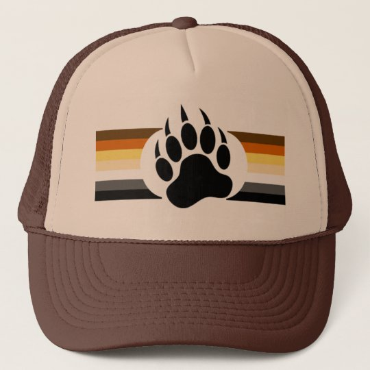 Bear Pride colours stripes and Bear Paw Trucker