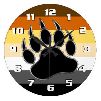 Bear Pride Flag Bear Paw Large Clock