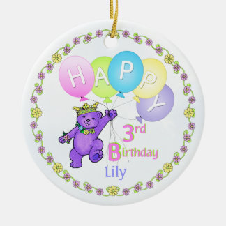 Bear Princess 3rd Birthday Keepsake Christmas Ornament