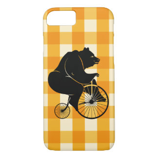 Bear Riding a Penny Farthing Bike iPhone 8/7 Case