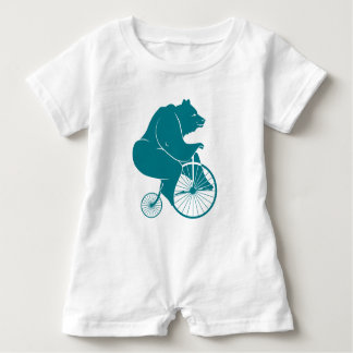 Bear Riding Vintage Bike Romper Baby Bodysuit