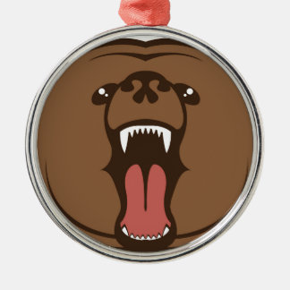 Bear Roar Silver-Colored Round Decoration