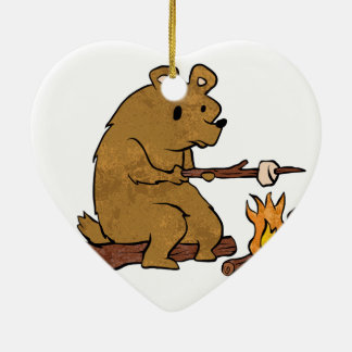 bear roasting marshmallows christmas ornament