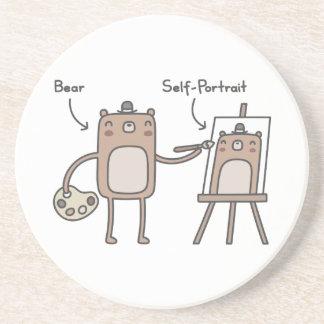 Bear Self-Portrait Beverage Coaster
