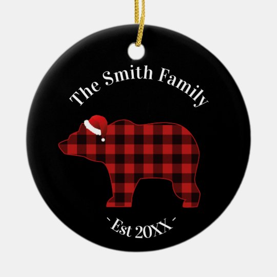 Bear Silhouette Buffalo Plaid Family Holiday Christmas Ornament