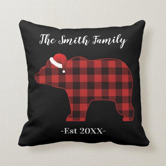 Bear Silhouette Buffalo Plaid Family Holiday Cushion