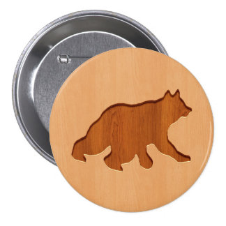 Bear silhouette engraved on wood design 7.5 cm round badge