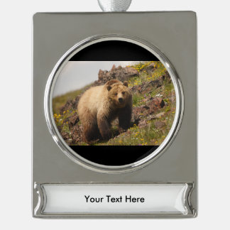 bear silver plated banner ornament