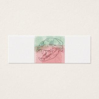 bear skull watercolour mini business card