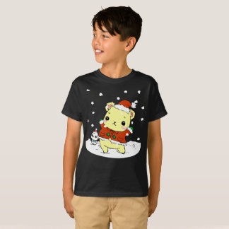 Bear Snow Winter Snowman Kids T-Shirt