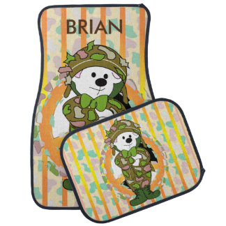 BEAR SOLDIER 2 Cartoon Car Mats Full Set (setof2) Car Mat