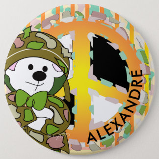 BEAR SOLDIER 2 CUTE CARTOON Colossal, 6 Inch 6 Cm Round Badge