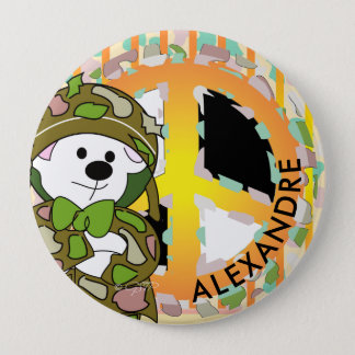 BEAR SOLDIER 2 CUTE CARTOON Huge, 4 Inch 10 Cm Round Badge