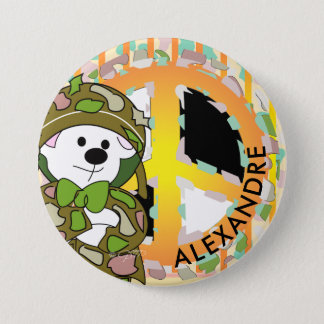 BEAR SOLDIER 2 CUTE CARTOON Large, 3 Inch 7.5 Cm Round Badge