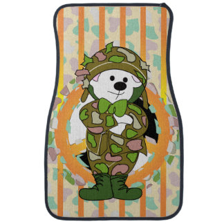BEAR SOLDIER Cartoon Car Mats (Front) (set of 2) Floor Mat