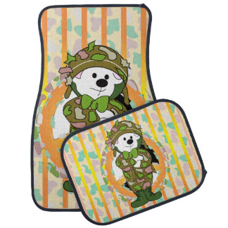 BEAR SOLDIER Cartoon Car Mats Full Set (setof2) Floor Mat