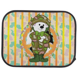 BEAR SOLDIER Cartoon Car Mats (Rear) (set of 2) Car Mat