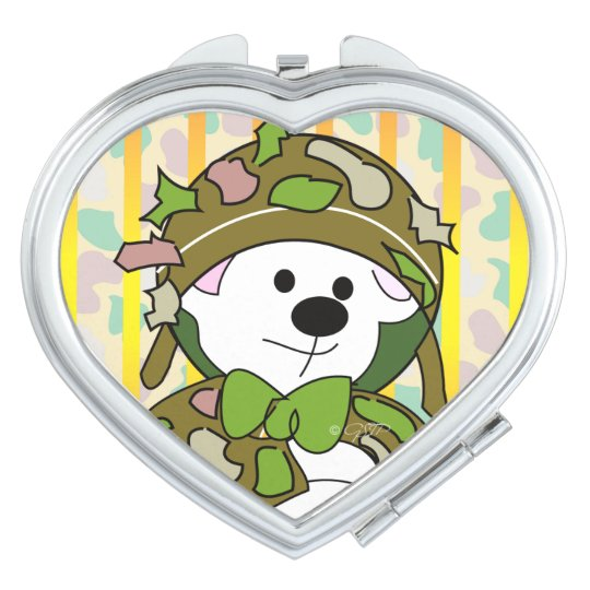 BEAR SOLDIER CARTOON compact mirror HEART