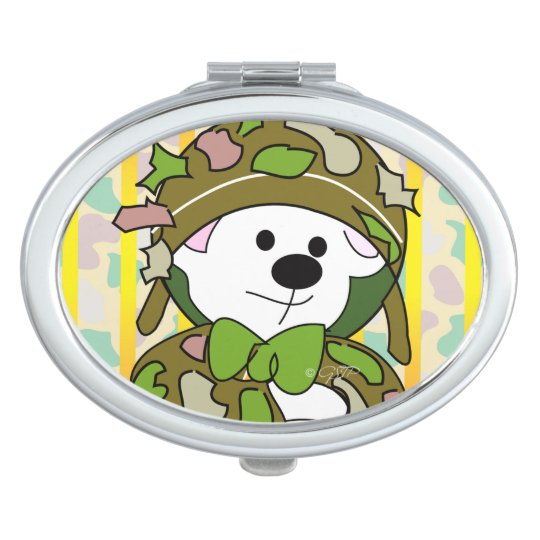 BEAR SOLDIER CARTOON compact mirror OVAL
