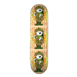 "BEAR SOLDIER CARTOON Skateboard 7 7/8"""