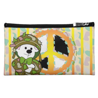 BEAR SOLDIER CARTOON Sueded Medium Cosmetic Bag