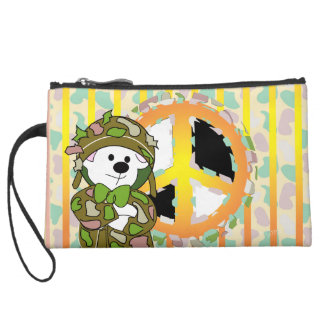 BEAR SOLDIER CARTOON Sueded Mini Clutch
