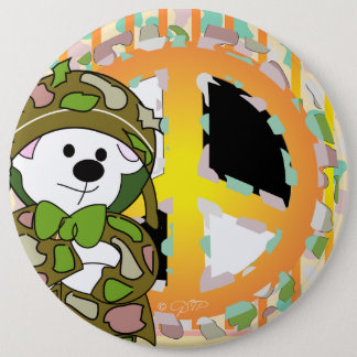 BEAR SOLDIER CUTE CARTOON Colossal, 6 Inch 6 Cm Round Badge