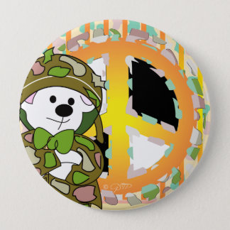 BEAR SOLDIER CUTE CARTOON Huge, 4 Inch 10 Cm Round Badge