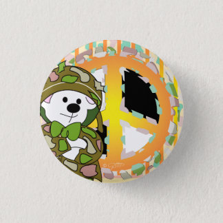 BEAR SOLDIER CUTE CARTOON Small, 1¼ Inch 3 Cm Round Badge