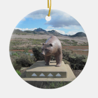 Bear Statue Guarding Los Osos on South Bay Double-Sided Ceramic Round Christmas Ornament