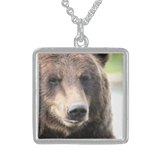 Bear Sterling Silver Square Necklace