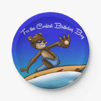 Bear Surfer Birthday Paper Plate 7 Inch Paper Plate