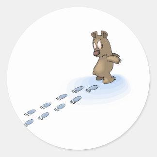 Bear Tracks Round Sticker