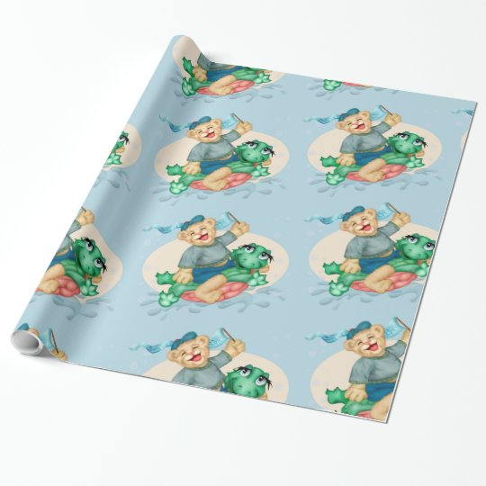 "BEAR TURTLE 30"" x 15'    CARTOON Wrapping Paper"