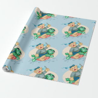 """BEAR TURTLE 30"""" x 45'     CARTOON Wrapping Paper"""