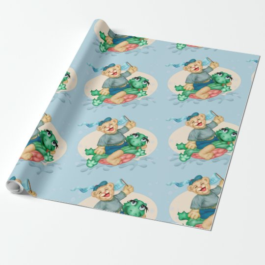 "BEAR TURTLE 30"" x 45'     CARTOON Wrapping Paper"