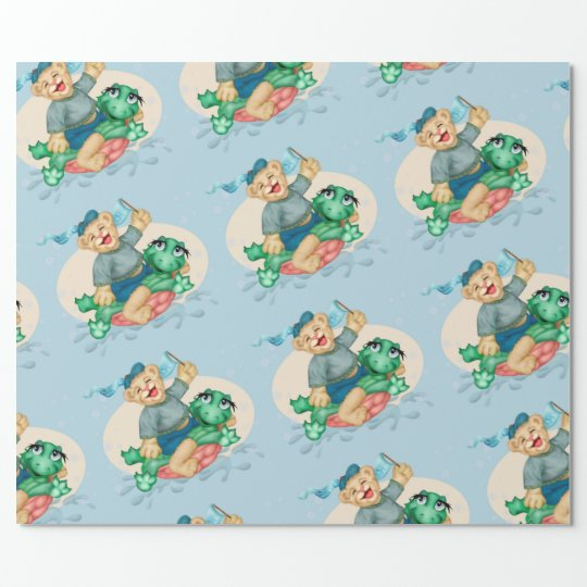 """BEAR TURTLE 30"""" x 6'   CARTOON Wrapping Paper"""