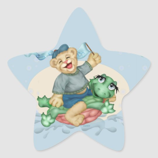 BEAR TURTLE AutoCollant ROUND Star Stickers
