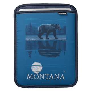 Bear Walking in Moonlight Vintage Travel iPad Sleeve