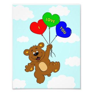 Bear with balloons in love cartoon kids art photo