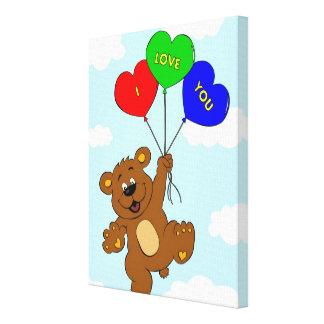 Bear with balloons in love cartoon kids canvas print