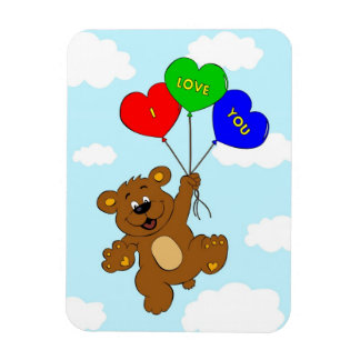 Bear with balloons in love cartoon kids rectangular photo magnet