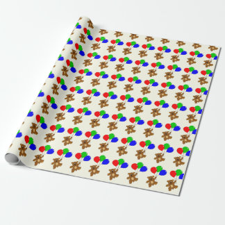 Bear with balloons kids wrapping paper